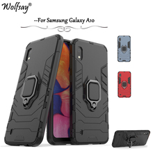 For Samsung Galaxy A10 Case Armor Metal Finger Ring Holder Phone Back Cover Fundas *