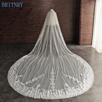BRITNRY New Arrival Luxury Wedding Veil Two Layers Blusher Veil Lace Bridal Veil Ivory Long Train Veil Bridal Accessories