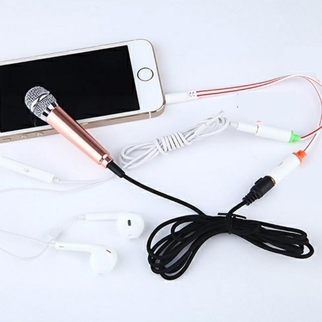 4color Mic KTV Karaoke Mini Microphone For Cell Phone Portable 3.5mm Stereo Studio  Laptop PC Desktop 5.5cm*1.8cm Small Size-30