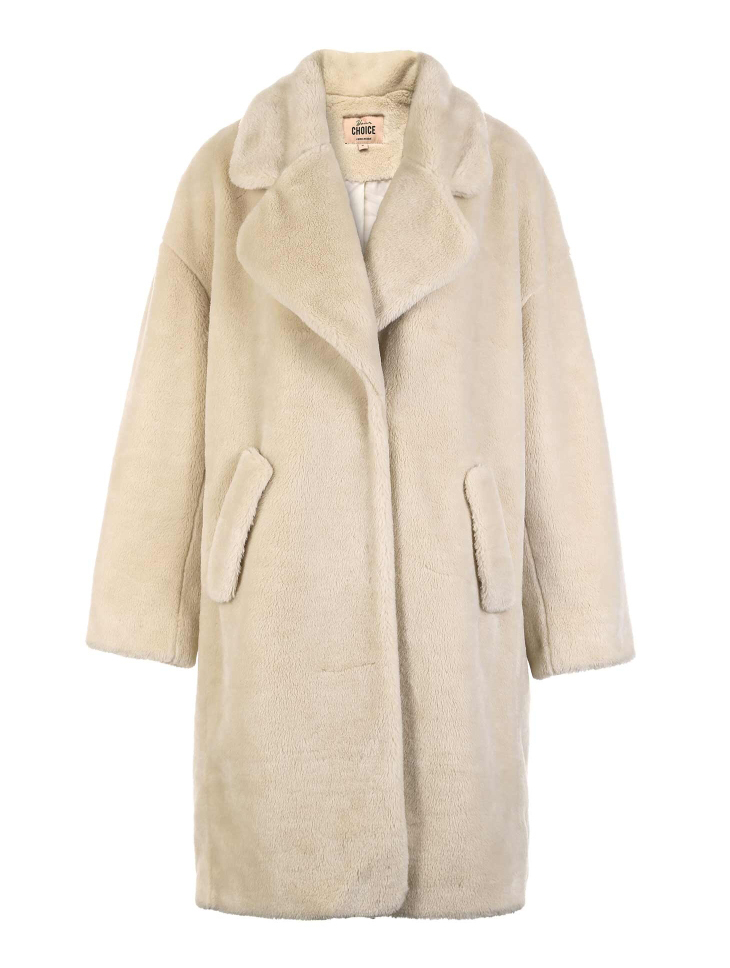 Vero Moda lapel drop shoulder long teddy bear winter coat jacket | 318309503 29