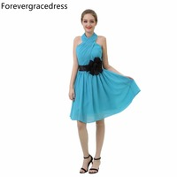 Forevergracedress Cheap Country Beach Bridesmaid Dress Blue Color Chiffon Short Boho Wedding Party Gown Plus Size