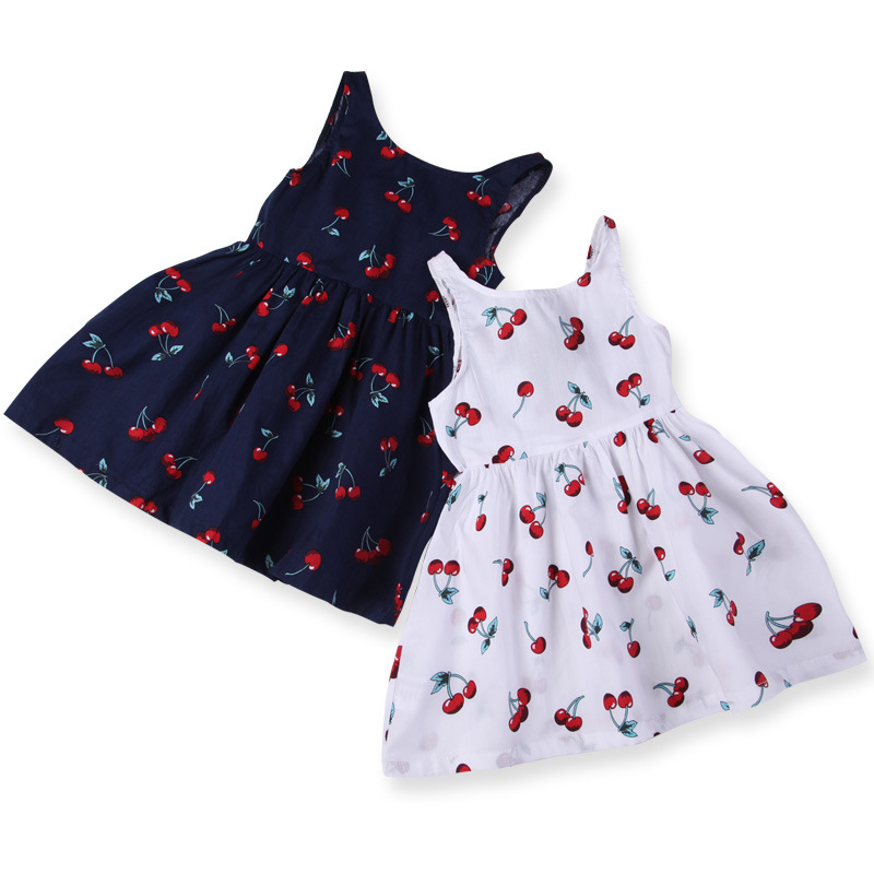 Girls Summer Dress Girl A Line Dress O Neck Short Sleeeve Cherry Print Bow Decor Backless Princess Cute Dresses Child Clothes in Dresses from Mother Kids