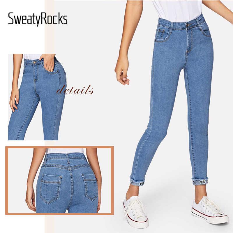 Однотонные обтягивающие джинсы SweatyRocks, уличная одежда, синие женские джинсы с высокой талией, 2019 весенние повседневные зауженные джинсы с потертостями по краям