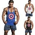 2015 Nuevo Verano Capitán América Mens Tank Top Camiseta Stringer Singlets Culturismo Golds fitness Chaleco de Algodón