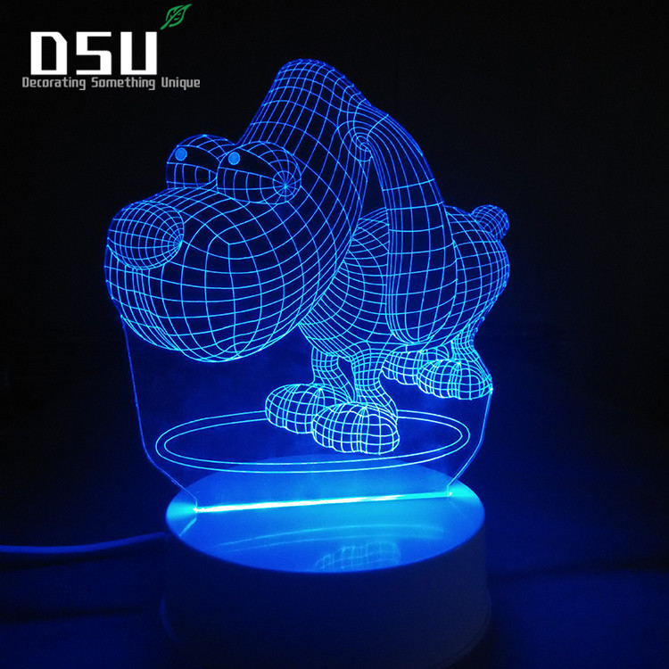 Newest 3D Dog Animal Night Light Desk Optical Illusion Lamps 7 Color Changing LED Table Lamp  Love Brithday Children Kids Decor