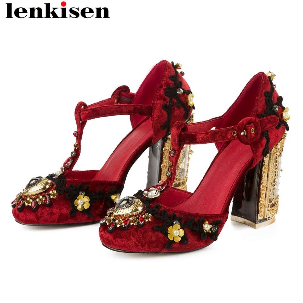 Chinese style art design vintage super high heels buckle strap hollow wedding party plus size round