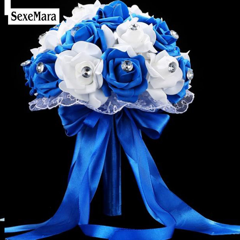 SexeMara edding Bouquet Handmade Artificial Flower Rose buque casamento Bridal Bouquet for Wedding Blue and White W