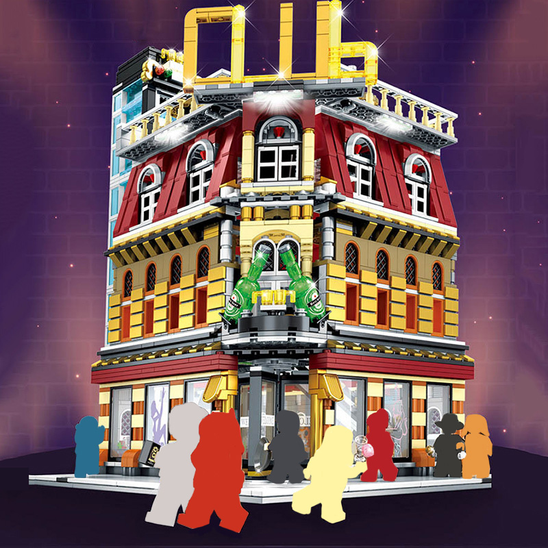 2488Pcs Creator Expert LED Night Club City Street View Building Blocks Architecture Bricks Gifts DIY Toys