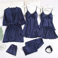 Pyjamas femmes 7 pièces rose Pyjamas ensembles automne Satin soie Lingerie Homewear ensemble de vêtements de nuit Pijamas pour femme