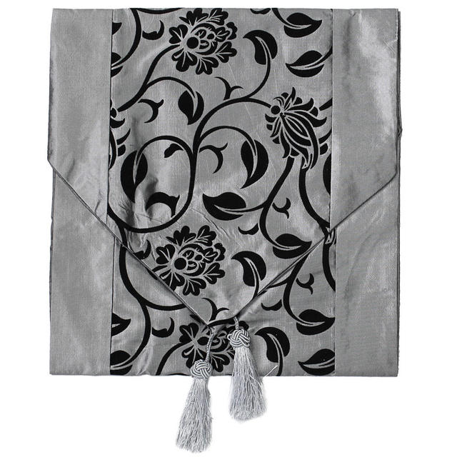 Fashionable Flower Blossom Silver Grey Table Runner Wedding Home Decoration  Hot