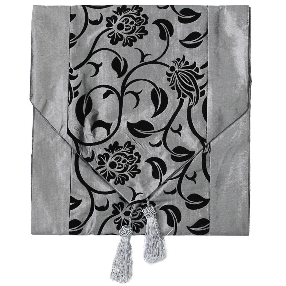 Fashionable Flower Blossom Silver Grey Table Runner Wedding Home Decoration  Hot(China (Mainland)