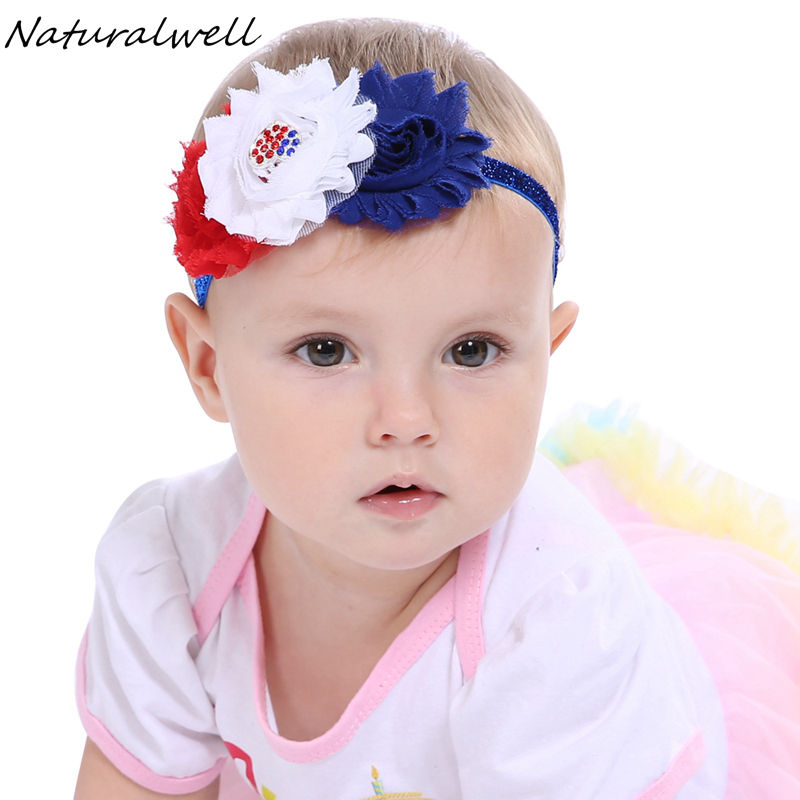 Efficient Naturalwell Usa National Holiday Headbands Baby Girls Print Bow Shabby Flower Headbands Hair Accessories Patriots Headband Hb533
