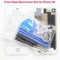 Para apple iphone 4s caso tampa traseira + frente painel de toque de vidro de substituição ferramentas gratuitas preto branco