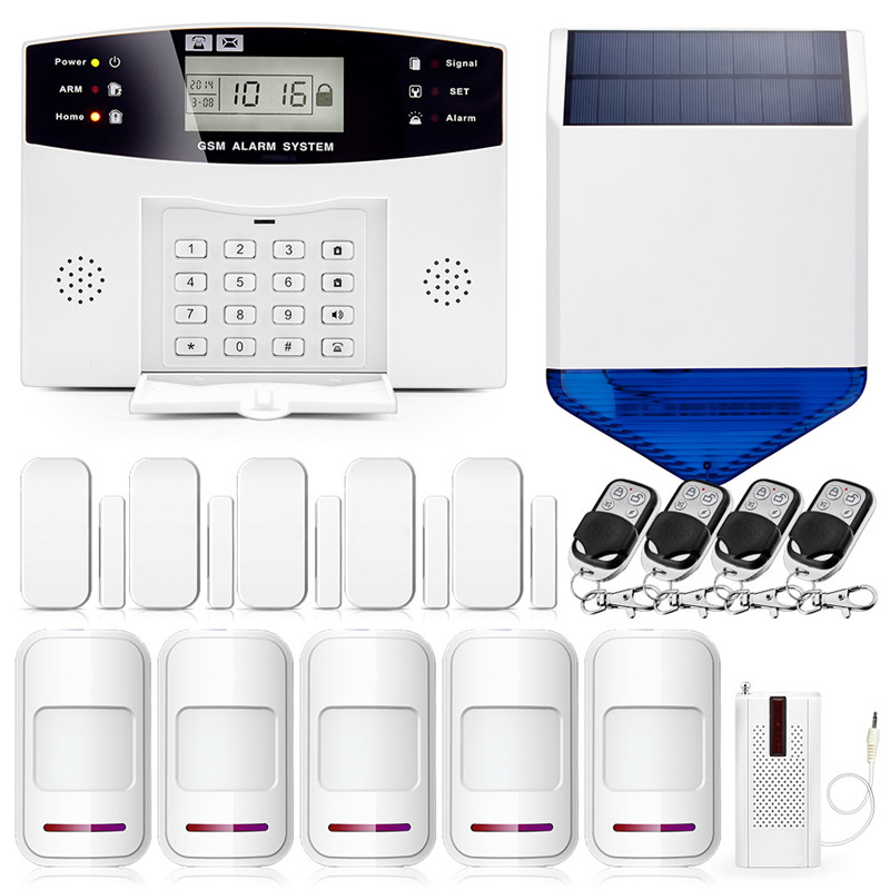 433MHz Wireless Solar Siren Alarm System Home GSM Burglar Security Alarm System Voice Prompt Wireless Door sensor LCD Display433MHz Wireless Solar Siren Alarm System Home GSM Burglar Security Alarm System Voice Prompt Wireless Door sensor LCD Display