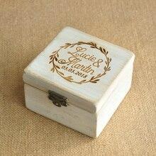 Caixa de noivado de madeira personalizada do presente de casamento dos namorados caixa de anel de casamento