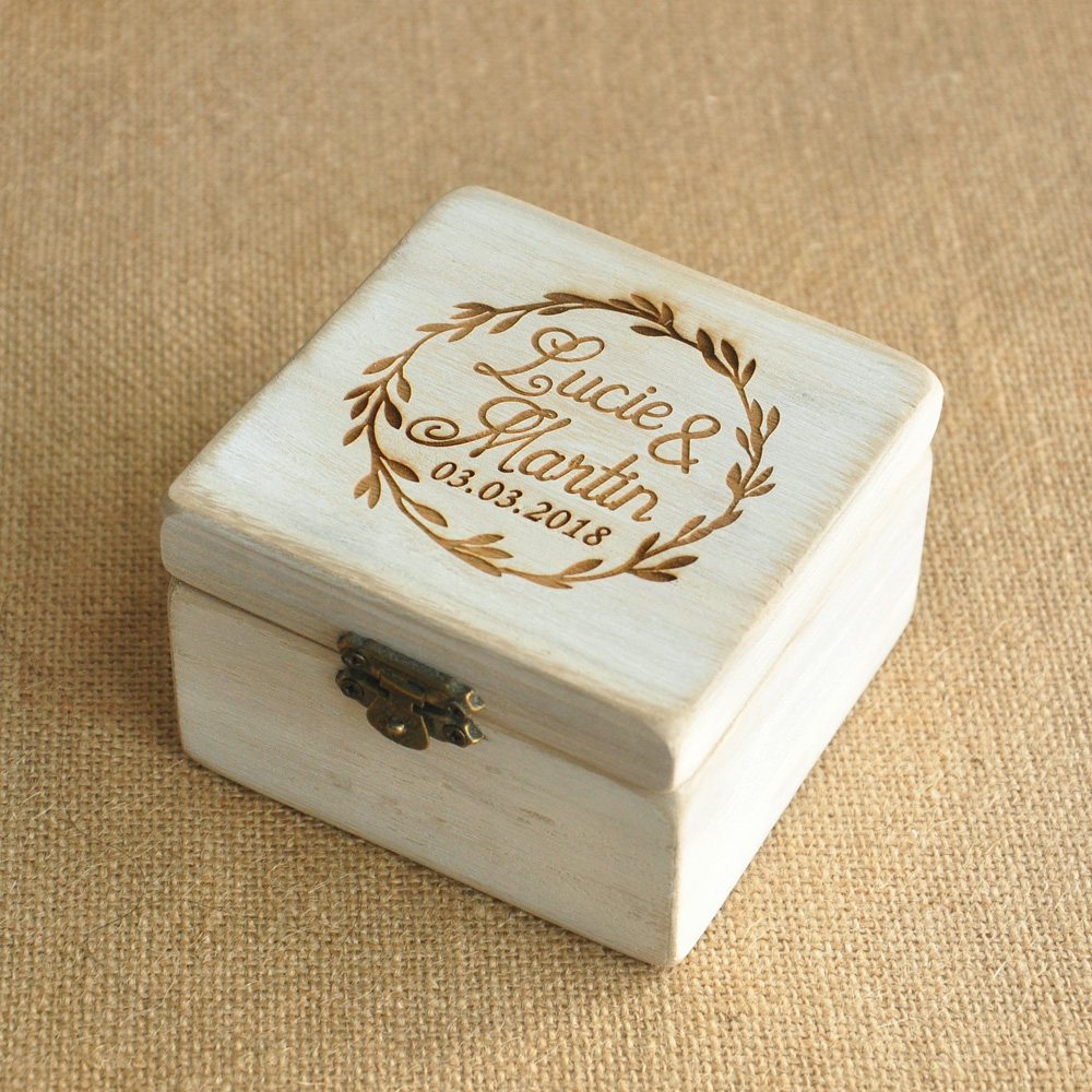Personalized wood wedding ring box personalized wedding for Cute engagement ring boxes