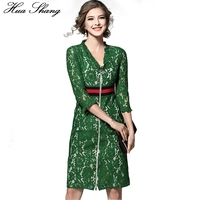 2017 Summer Women Work Wear Office Dress Long Sleeve V Neck Lace Floral Slim Pencil Dress Women Green Zipper Lace Party Dress
