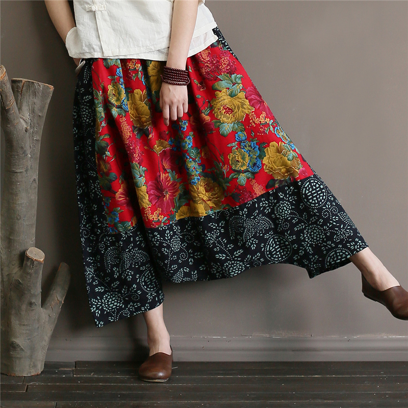 Women Vintage Cross Pants Floral Elastic Waist Patchwork Summer New Cotton Linen Casual Trouser Women Pants