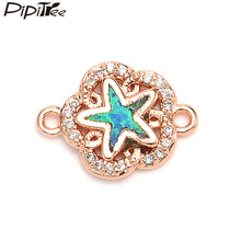 Pipitree Copper Micro Pave Cubic Zirconia Flower Charms with Blue Fire Opal Star Charm DIY Bracelet Connector for Jewelry Making(China)
