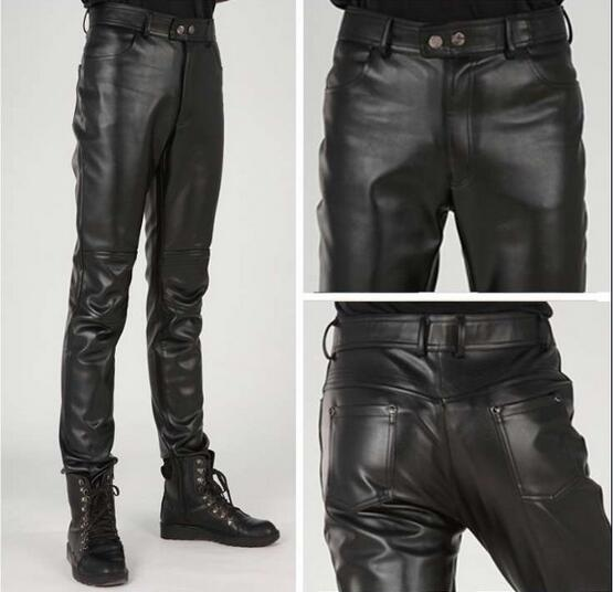 28-38!!!Winter fashion zipper leather pants man tight little locomotive han edition cultivate one's morality pants
