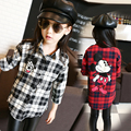 2017 Spring 3-14 Years Baby Big Girls Plaid Blouses Cartoon Printed Kids Clothes Child Long Sleeve School Girl Shirt Kids Tops
