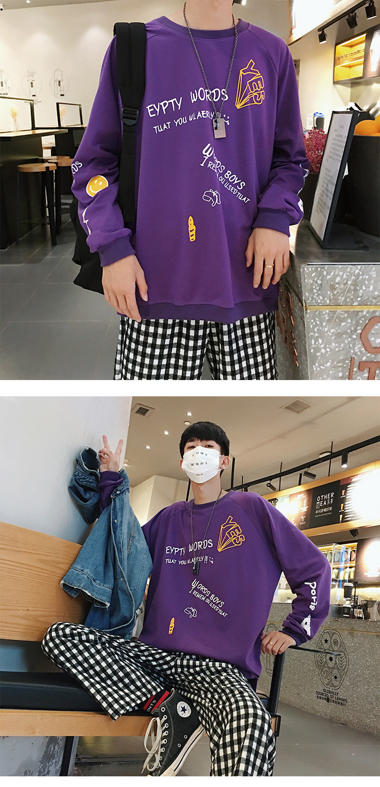 2019 Men's Round Collar Hoodies Cotton Clothing Pullover Coats Casual Fashion Trend Loose White/black/Violet Sweatshirt M-5XL 13