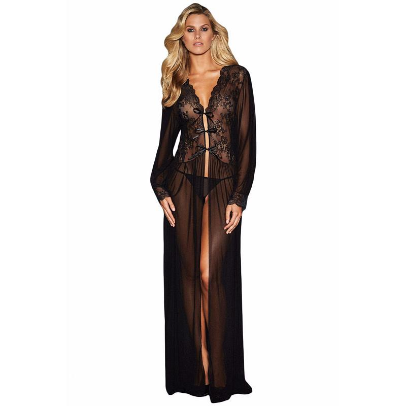 Black See Through Sexy Lingerie Baby Doll Sheer Long Sleeve Lace Long Dress Sleepwear Robe With Thong Vestidos Sexy Eroticos