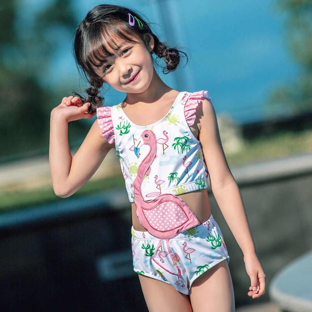 Детский слитный купальник без рукавов с вышивкой «сокровище Фламинго» для девочек, новинка 2019 года, купальный костюм для девочек, Maillot