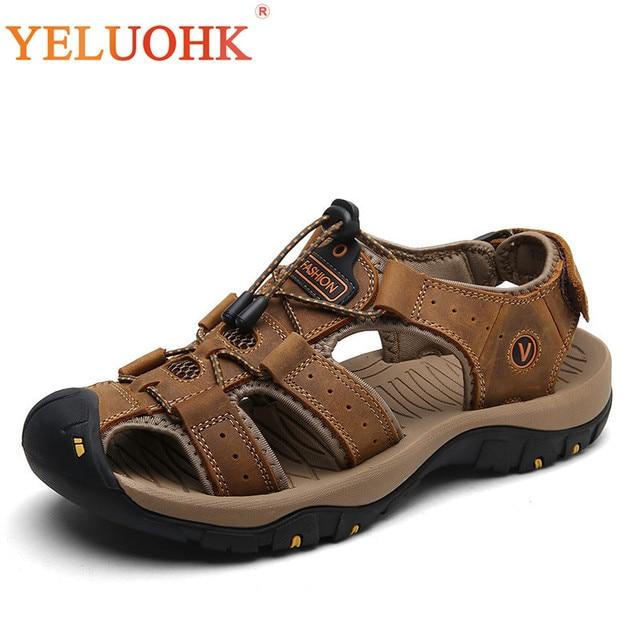 Uomo Classice Sandalo In Pelle  Scarpe