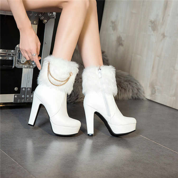PXELENA Elegant Black White Bride Wedding Winter Boots Faux Fur Chains Thin  High Heels Ankle Boots b3e5cb4fbc9c