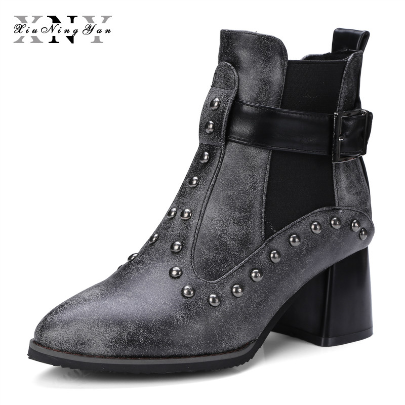 XIUNINGYAN Women Shoes Brand Designers New Spring Autumn Black High Heel Boots Elastic Band Platform Ankle Boots Plus Size 32-50