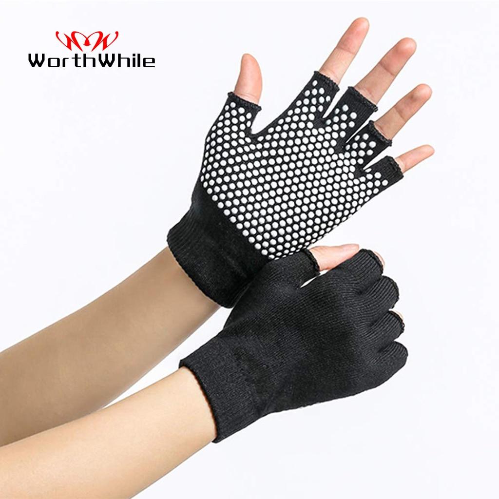 WorthWhile Yoga Sports Gloves for Women Men Gym Fitness Non Slip Training Workout Bodybuilding Half Finger Hand Protector