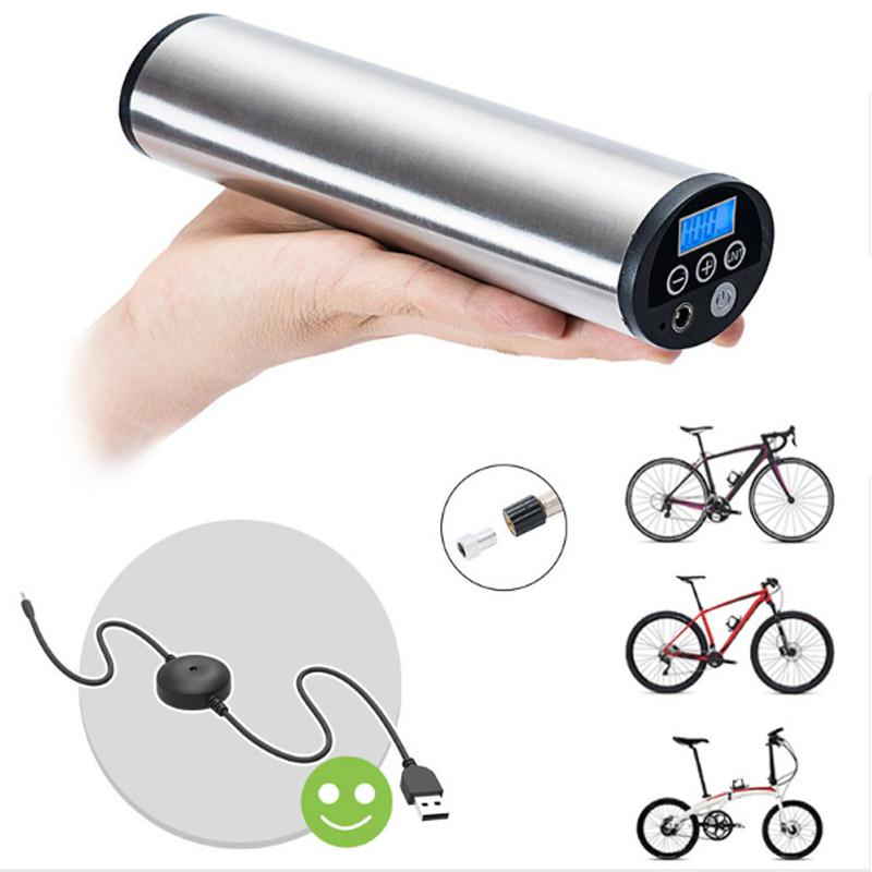 Rechargeable Portable Car Bicycle Bike Wheel Tyre Tire Pump Air Inflator Compressor Pressure Monitor with LCD Display/ LED <font><b>Light</b></font>