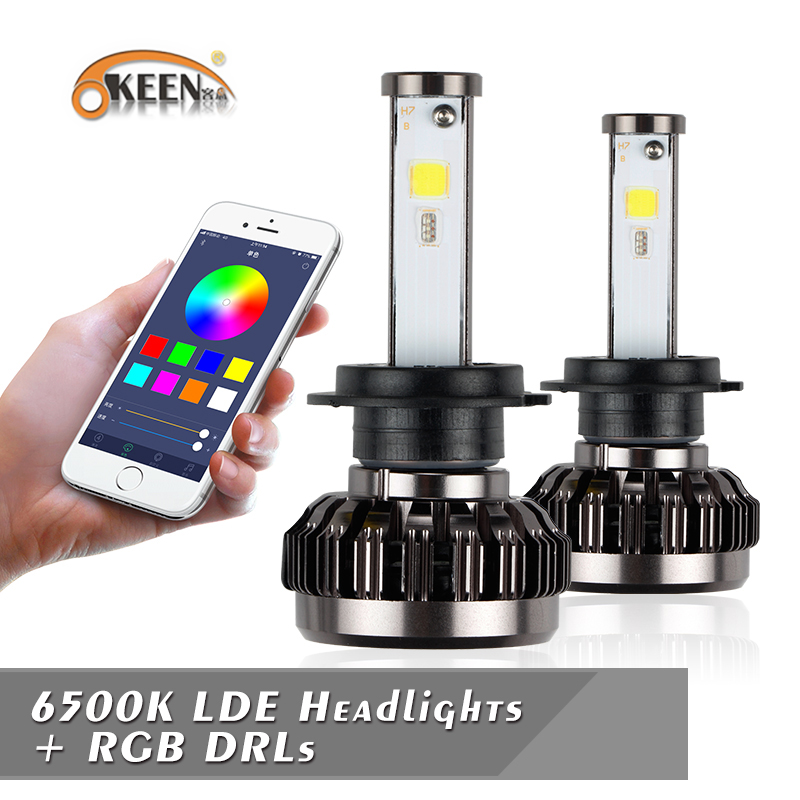 New Arrival H1 LED RGB Headlight 50W Car Auto Headlight Bubls H4 H7 H3 H11 Driving Fog Bulbs Ballast Kit APP Bluetooth Control