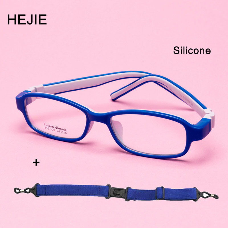 Fashion Kids Safe Silicone Clear Lens Optical Eyeglasses Frames No Screws Unbreakable Boys Girls With Chain Size 47-16-130 Y1071