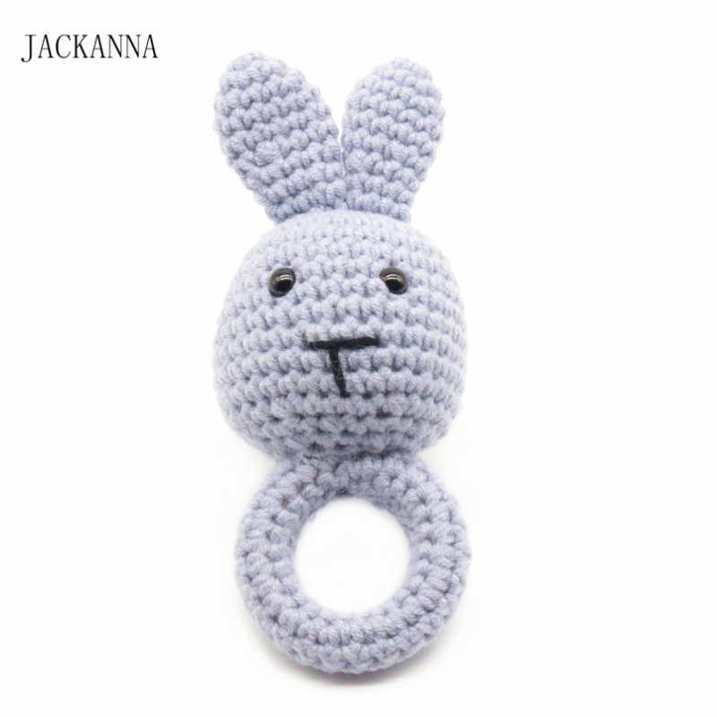 1 mordedor con forma de anillo de madera de ganchillo con Oso de conejo, productos para bebés DIY, sonajero para la dentición, Amigurumi de Juguetes
