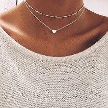 UAM простое любовное сердечко колье ожерелье для женщин многослойные бусы чокер золото/серебро милое ожерелье для влюбленных массивные украшения