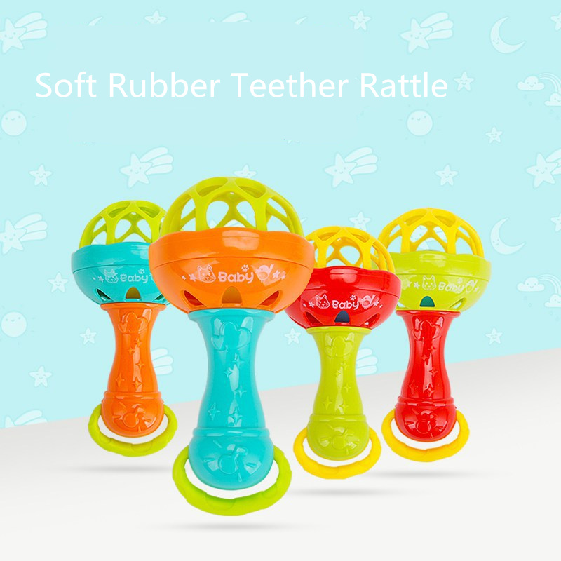 Baby & Toddler Toys Quinee Ox Baby Teether Educational Hand Grip Rod Toys Teether Chick Baby Rattle Toy Silicone Handbell Child Birthday Present Volume Large