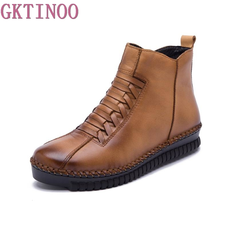 2018 Fashion Handmade Boots For Women Genuine Leather Ankle Shoes Casual Women Shoes Round Toes ladies boots plus size 35-43 plus size 36 46 genuine leather women ankle boots hiking shoes women work safety shoes