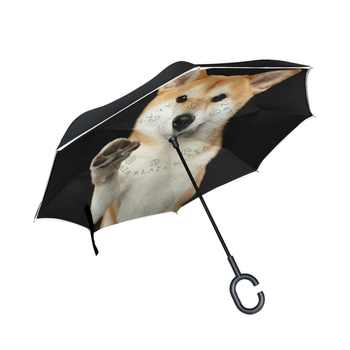 C Handle Windproof Shiba Inu ร่มผู้หญิงฝนรถ Inverted ร่ม Double Layer Anti UV Self Stand Parapluie - DISCOUNT ITEM  21% OFF บ้านและสวน