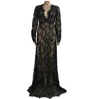 أزياء المرأة الدانتيل الخامس الرقبة منظور ماكسي فساتين السهرة الرسمية العروسة فستان زفاف الحزب