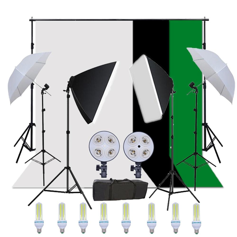 Russie Livraison Gratuite Photo Studio Équipement LED Kit D'éclairage Photographique Softbox parapluie Kit et Toile De Fond avec Support De Fond