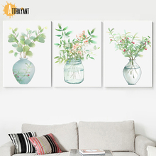 Pot Plant Leaf Nordic Posters And Prints Wall Art Canvas Painting Watercolor Pictures For Living Room Bedroom Home Decor