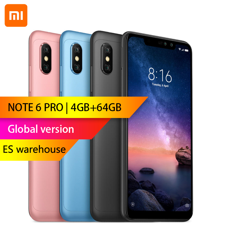 Mondial version-Xiaomi Redmi Note 6 Pro 4 GB 64 GB 6.26 pouces FHD + Snapdragon 636 Octa core 12MP + 5MP Double caméra 4G Smartphone