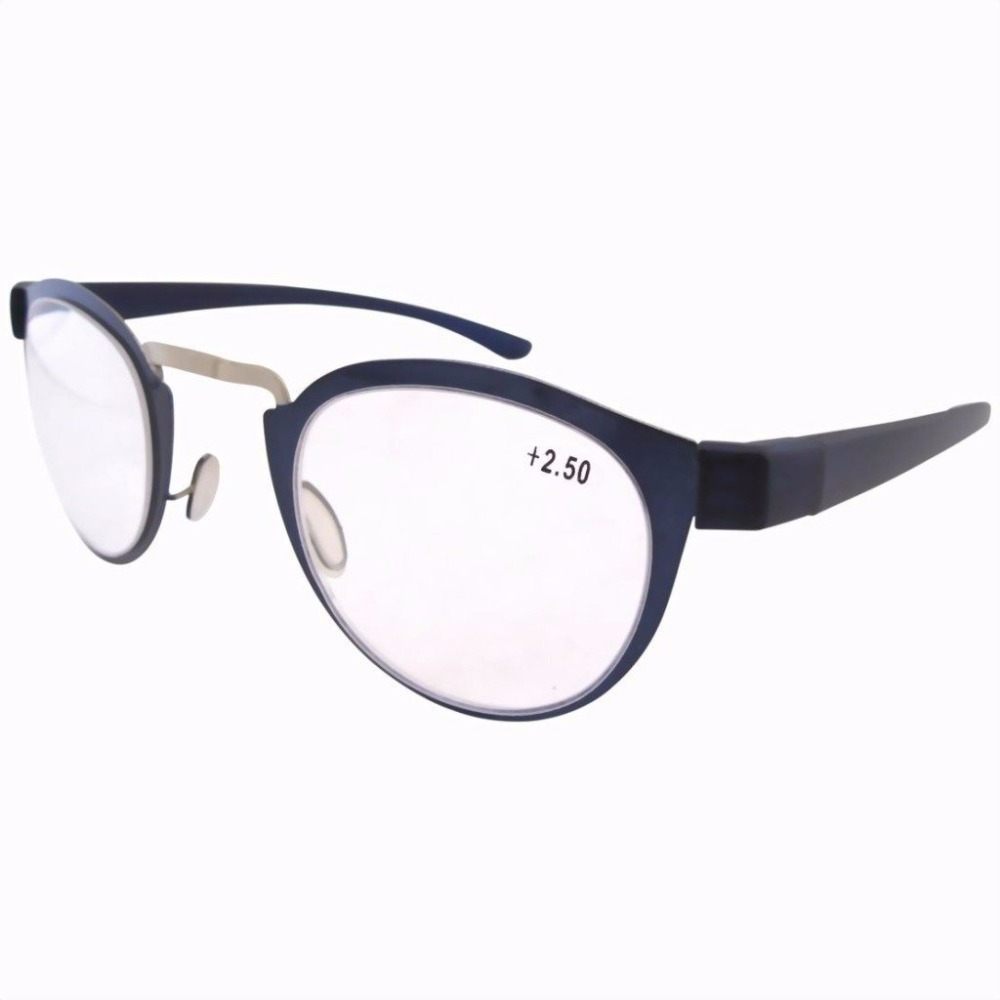 R11042 Stainless Steel Frame Rim Plastic Arms Retro Silver/blue Reading Glasses W/pouch Women's Glasses 1.0/1.25/1.5/2.0/2.25/2.5/3.0/3.5 Professional Design Women's Reading Glasses