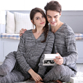 Par de pijamas para las mujeres y hombre de la rebeca gris pijamas conjuntos de punto Con Cuello En V tops homewear pijamas de invierno de abrigo traje traje de casa mujeres