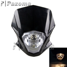 PAZOMA Supermoto Motocross Headlight Fairing Universal Motorcycle Streetfighter Headlamp for DT125 PW50 XT660 YZ 250 125 Black