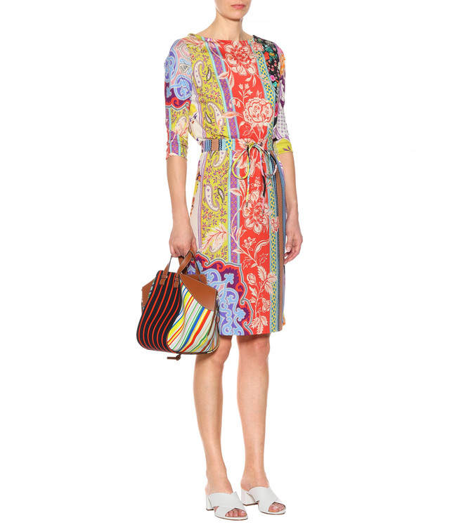 Ladies' fashion show, beautiful Vintage print, half sleeve elastic knitted with blet silk jersey slim dress.-in Dresses from Women's Clothing    1