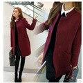 Borgoña color de tamaño grande Abrigo de Lana Mezclas Chaqueta Larga de la manera outwear Cazadora de Lana Abrigo de Las Mujeres de moda ropa de abrigo XXL