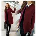 Burgundy color big size Woolen Coat Blends Jacket fashion Long Outwear coat trendy Coat Wool Windbreaker Women clothing coat XXL